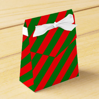 Red and Green Christmas Candycane Stripes Favor Box