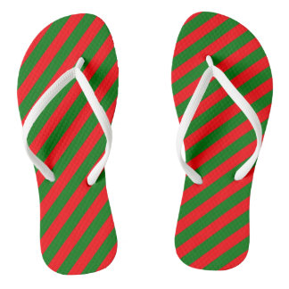 Red and Green Christmas Candycane Stripes Flip Flops