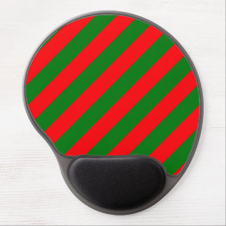 Red and Green Christmas Candycane Stripes Gel Mouse Pad