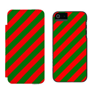 Red and Green Christmas Candycane Stripes Incipio Watson™ iPhone 5 Wallet Case