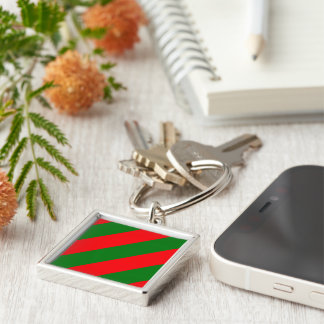 Red and Green Christmas Candycane Stripes Keychain