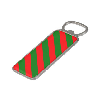 Red and Green Christmas Candycane Stripes Magnetic Bottle Opener