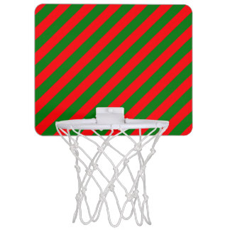 Red and Green Christmas Candycane Stripes Mini Basketball Hoop