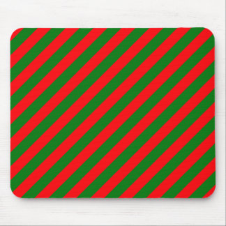 Red and Green Christmas Candycane Stripes Mouse Pad