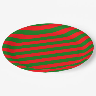 Red and Green Christmas Candycane Stripes Paper Plate