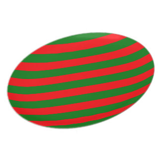 Red and Green Christmas Candycane Stripes Plate