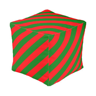 Red and Green Christmas Candycane Stripes Pouf