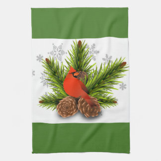 Red and Green Christmas Cardinal Kitchen Towel