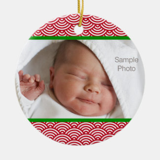 Red and Green Christmas Circle Photo Ornament