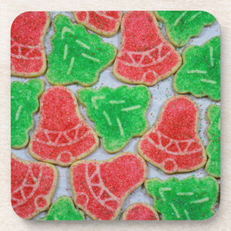 Red and green christmas cookies coaster