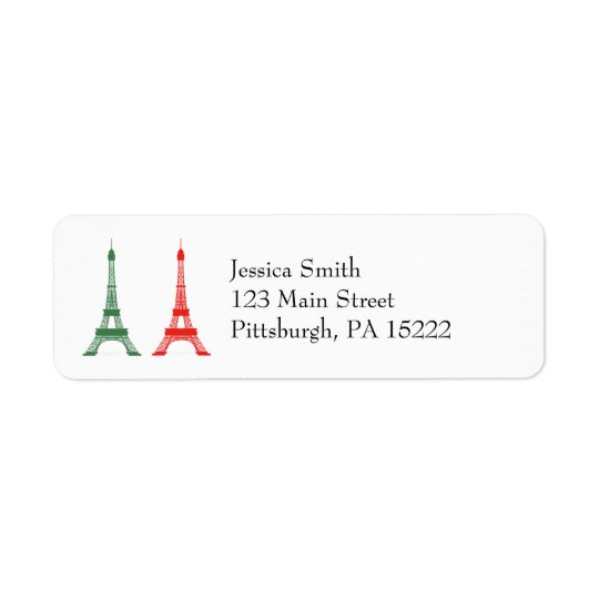 Red and Green Christmas French Theme Eiffel Towers