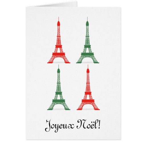 Red and Green Christmas French Theme Eiffel Towers Cards