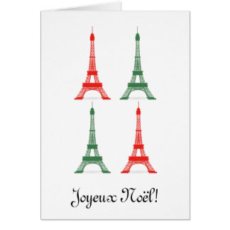 Red and Green Christmas French Theme Eiffel Towers Greeting Card