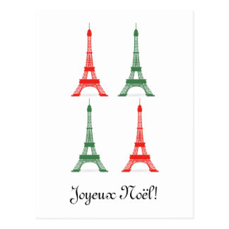 Red and Green Christmas French Theme Eiffel Towers Postcard
