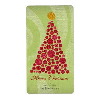 Red and Green Christmas Gift Present Tag Label Shipping Label