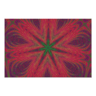 Red and Green Christmas Mandala Photograph