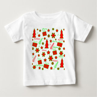 Red and green Christmas pattern Baby T-Shirt