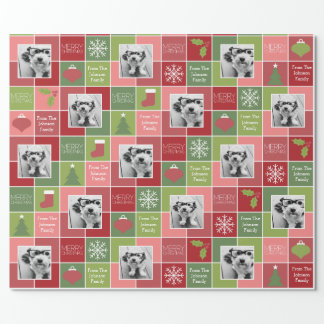 Red and Green Christmas Photo with Whimsical Type Wrapping Paper
