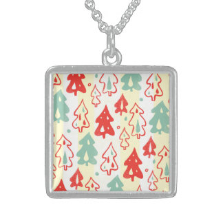 Red and Green Christmas Pine Trees Stripe Pattern Pendant