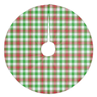 Red and Green Christmas Plaid Fleece Tree Skirt