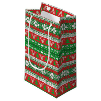 Red and Green Christmas Sweater Small Gift Bag