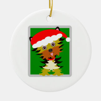 Red and Green Christmas  Yorkie Ceramic Ornament