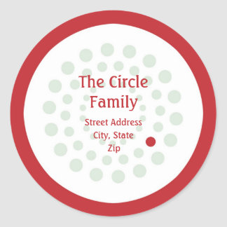 Red and Green Circle Address Label