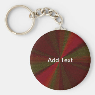 Red and Green Circular Patchwork Array Basic Round Button Keychain