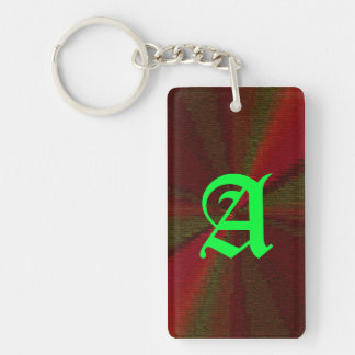 Red and Green Circular Patchwork Array Single-Sided Rectangular Acrylic Keychain