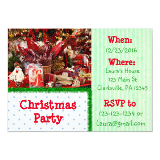 Red and Green Cookies Christmas Party Invitation