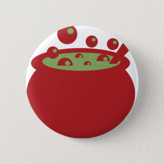 Red and Green Cooking Pot 2 Inch Round Button