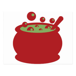 Red and Green Cooking Pot Postcard