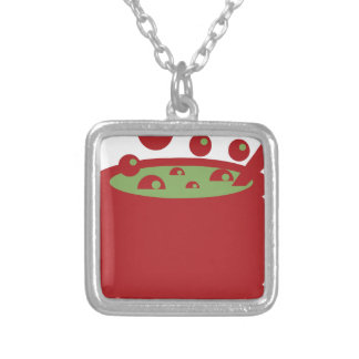 Red and Green Cooking Pot Silver Plated Necklace