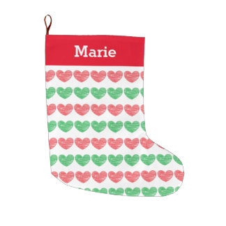 Red and Green Crayon Hearts Large Christmas Stocking
