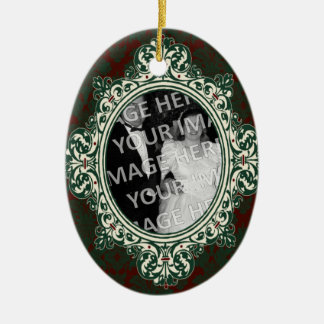Red and Green Damask Oval Frame First Christmas Ceramic Ornament