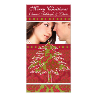 Red and Green Damask Pine Holiday Family Pictures Picture Card