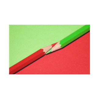 Red and Green Diagonal Colored Pencils Canvas Print
