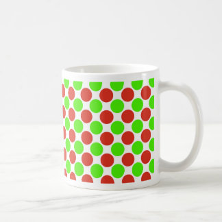 Red and Green Dots on White Coffee Mug