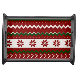 Red And Green Fair Isle Serving Tray