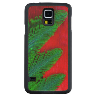 Red And Green Feather Abstract Carved Maple Galaxy S5 Case