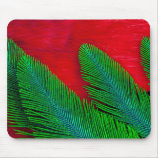 Red And Green Feather Abstract Mouse Pad