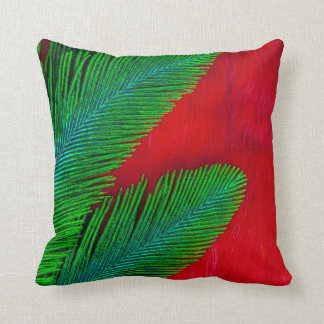 Red And Green Feather Abstract Throw Pillow