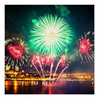 Red and Green Fireworks Poster