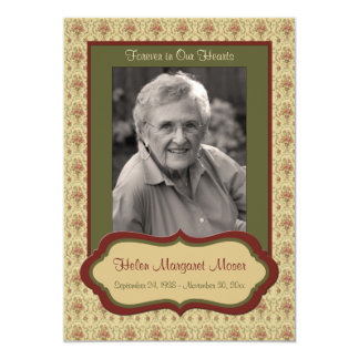"""Red and Green Floral Memorial Card with Photo 5"""" X 7"""" Invitation Card"""