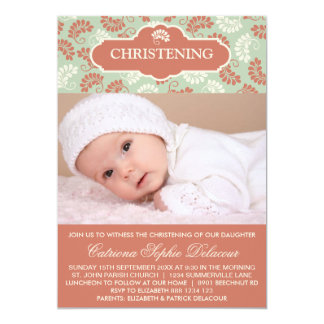 Red and Green Floral Photo Christening invitation