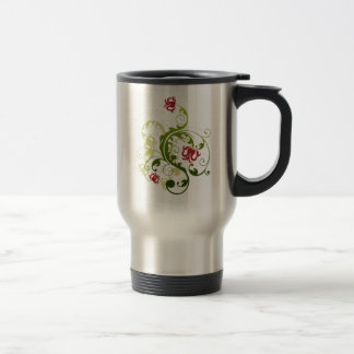 Red and Green Floral Travel Mug