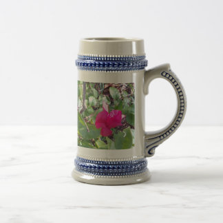 RED AND GREEN FLOWERS BEER STEIN