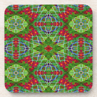 Red and Green Geometric Design #2204 Beverage Coasters