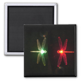 Red and Green glowing dragonflies Square Magnet