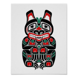 Red and Green Haida Spirit Bear Poster